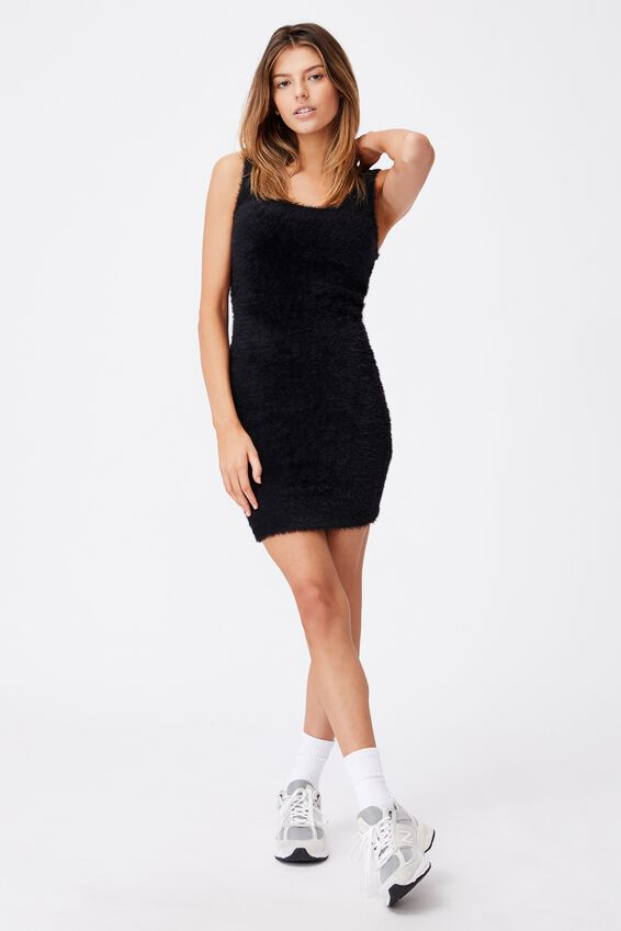 Fluffy Knit Dress, BLACK
