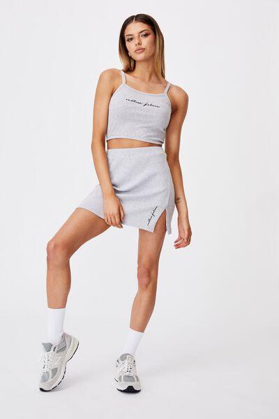 Rib Side Split Skirt, GREY MARLE/ENDLESS FUTURE