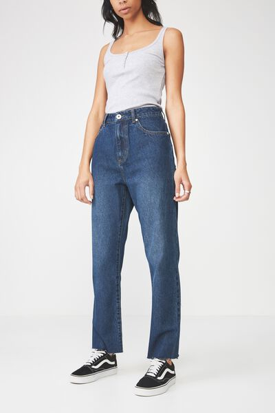 High Waist Straight Leg Jean, TRUE BLUE
