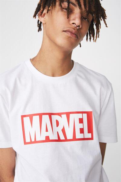 Licensed Print T Shirt, WHITE/MARVEL