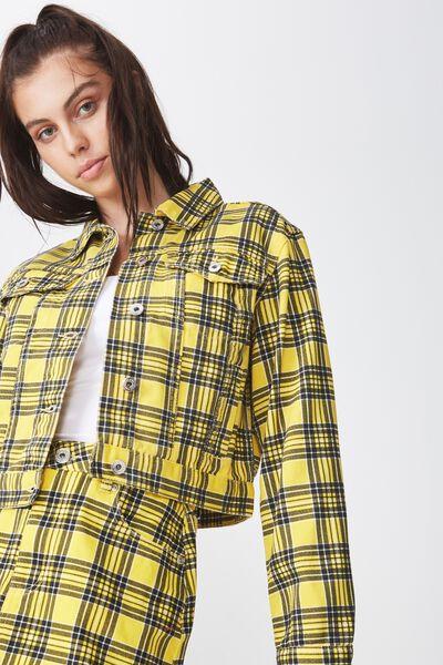 Co-Ord Denim Jacket, YELLOW CHECK