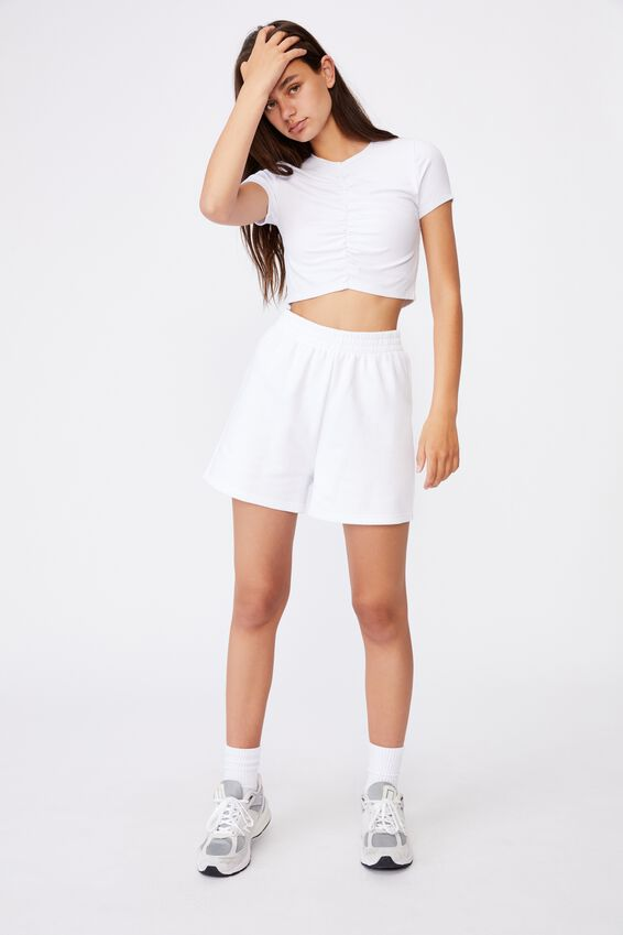 Cinch Front Short Sleeve Top, WHITE