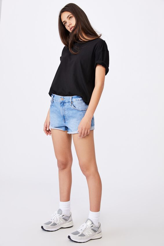 Low Rise Denim Short, VIBRANT BLUE