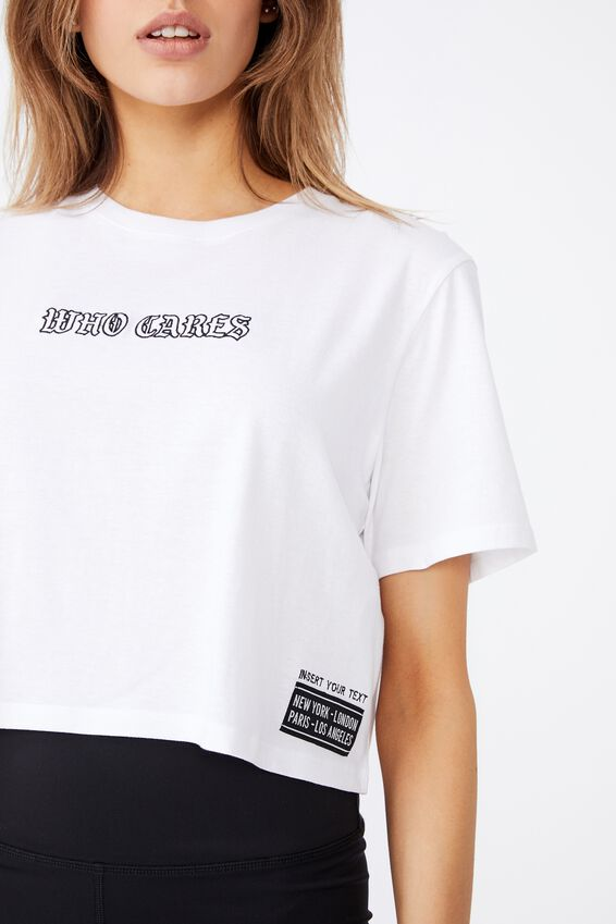 Short Sleeve Raw Edge Crop Graphic T Shirt, WHITE/WHO CARES