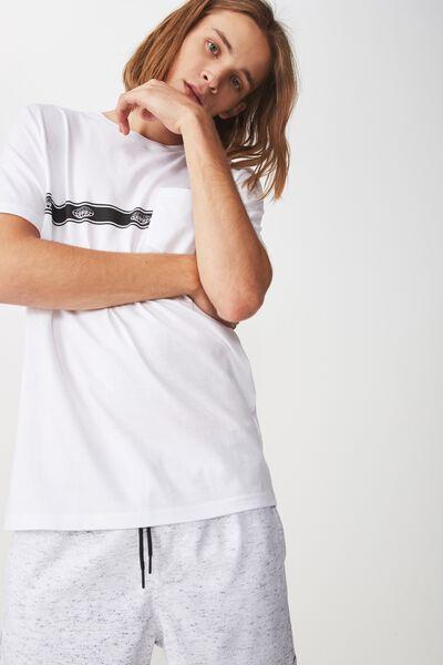 Worldwide Pocket T Shirt, WHITE/GLOBE STRIPE