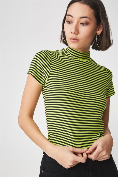 Short Sleeve High Neck Top, BRIGHT STRIPE_ACID LIME