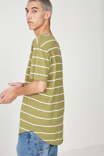 Curved Stripe T Shirt, MOSS STRIPE