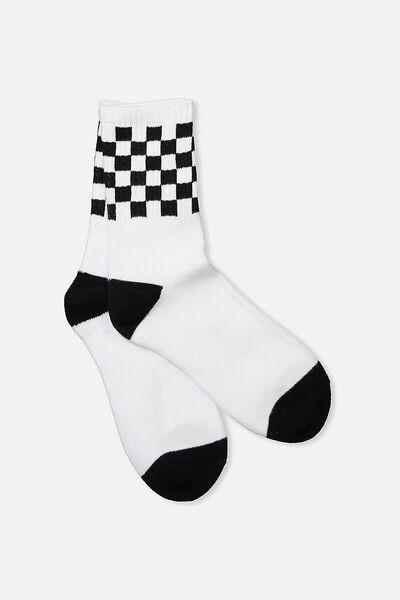 Retro Sport Sock, WHITE/BLACK CHECK