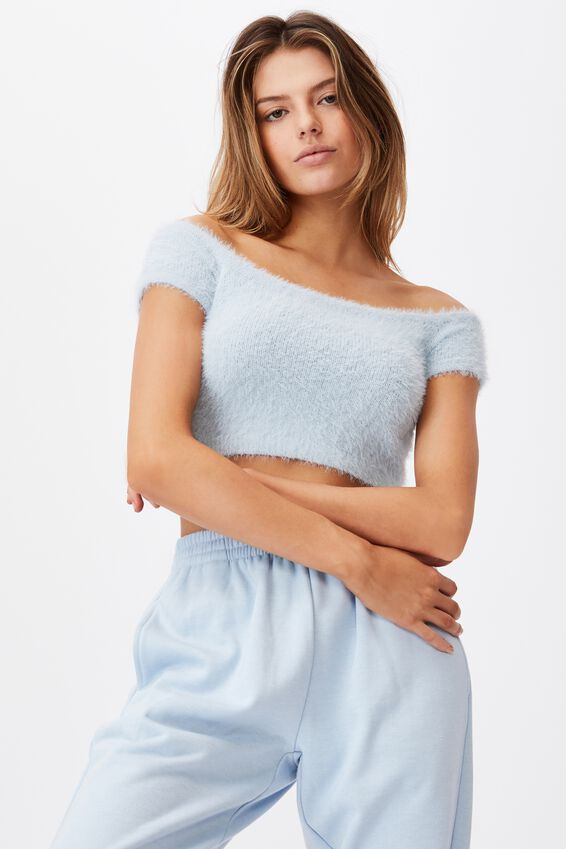 Fluffy Knit Off The Shoulder Top, SKYWAY BLUE