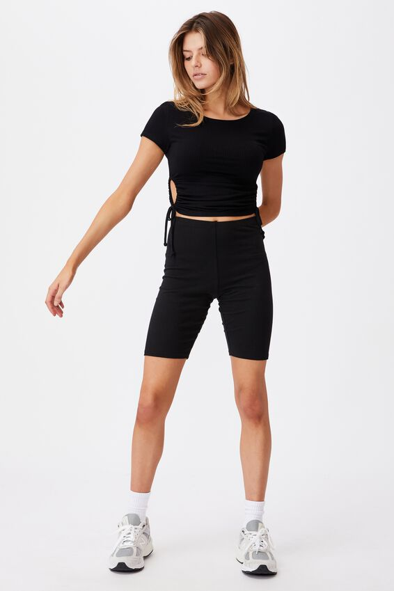 Short Sleeve Cut Out Top, BLACK