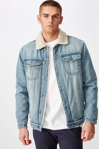 Denim Sherpa Jacket, VINTAGE BLUE
