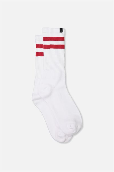 Retro Ribbed Socks, WHITE_RED STRIPE