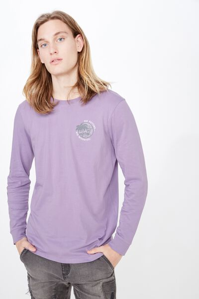 Slim Long Sleeve Graphic T Shirt, CHALK VIOLET/NO WORRIES