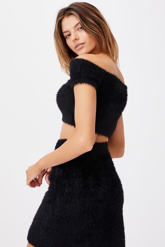 Fluffy Knit Off The Shoulder Top, BLACK