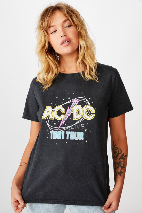 Lcn Relaxed Graphic T Shirt, WASHED BLACK/ACDC TOUR