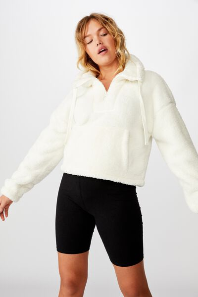 Qtr Zip Plush Pull Over, MARSHMALLOW