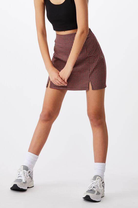 Double Split Mini Skirt, MILLIE GINGHAM RED