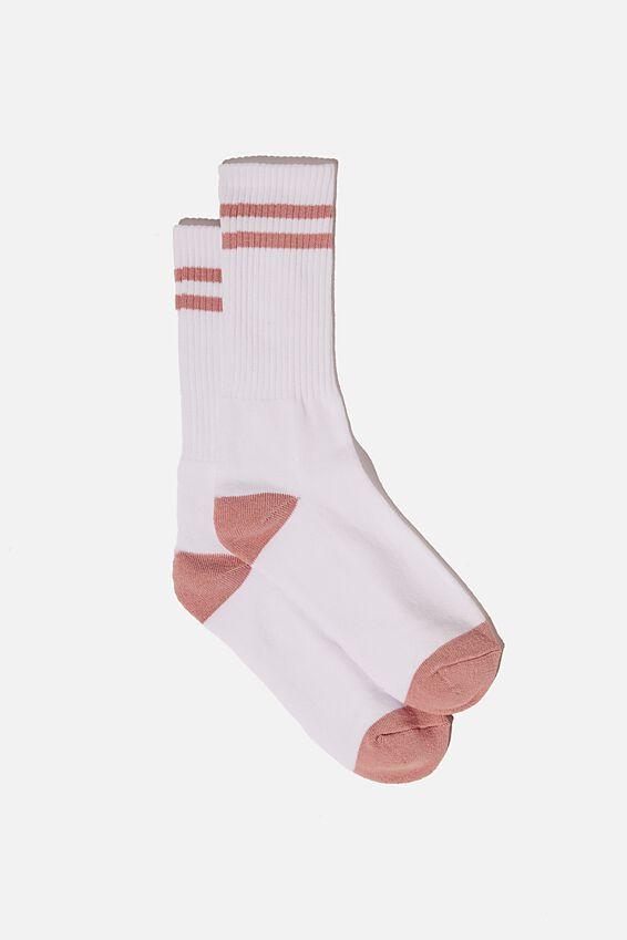 Retro Ribbed Socks, WHITE FUSCHIA STRIPES