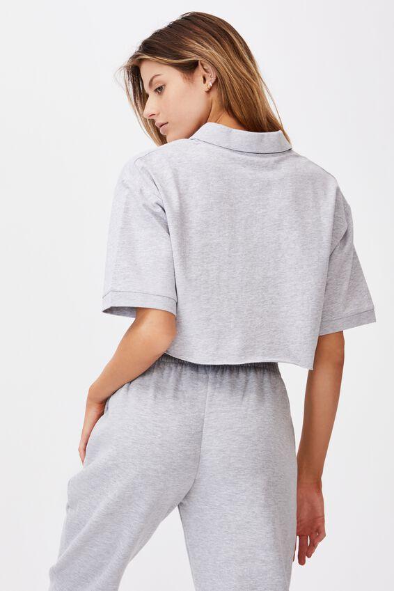 Short Sleeve Crop Polo Top, GREY MARLE