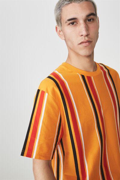 Ss Vertical Stripe T Shirt, DARK CHEDDAR/MULTI STRIPE