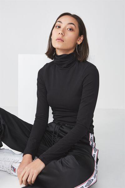 Long Sleeve High Neck Top, BLACK