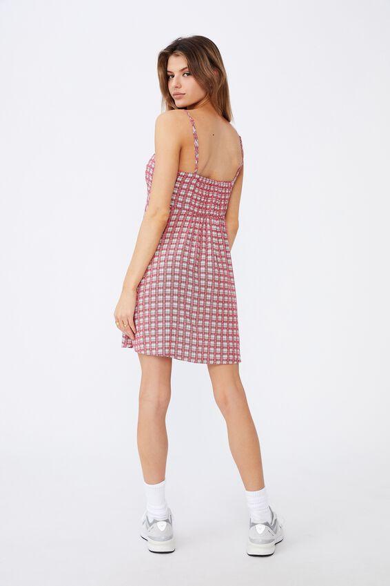 Fit And Flare Split Dress, MAYA CHECK TOMATO