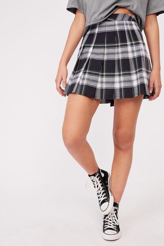 Pleated Skirt, BILLIE CHECK NAVY