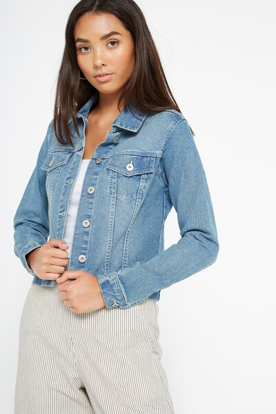 Girlfriend Denim Jacket, MID WEST BLUE