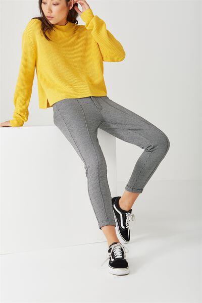 Zip Front Check Pant, CHECK_BLACK WHITE