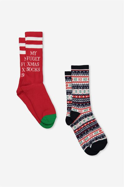 2Pk Xmas Socks, MULTI BLUE_FUGLY RED