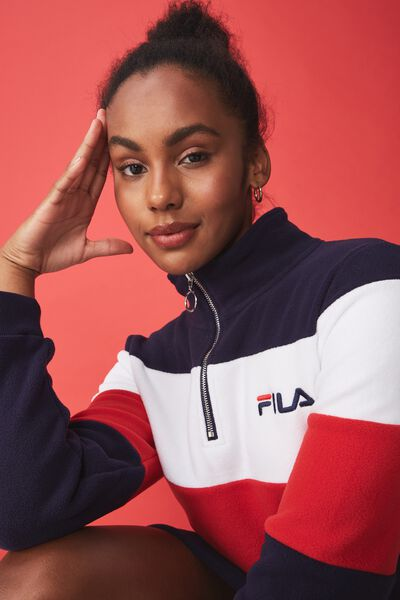 Fila Lcn Polar Fleece Dress, NAVY/WHITE/RED