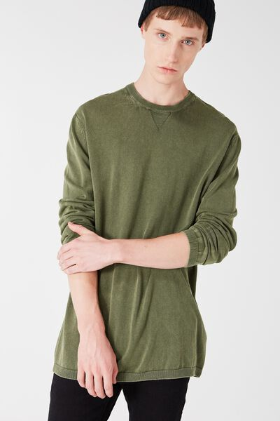 Mixed Crew Knit, KHAKI ACID HZ