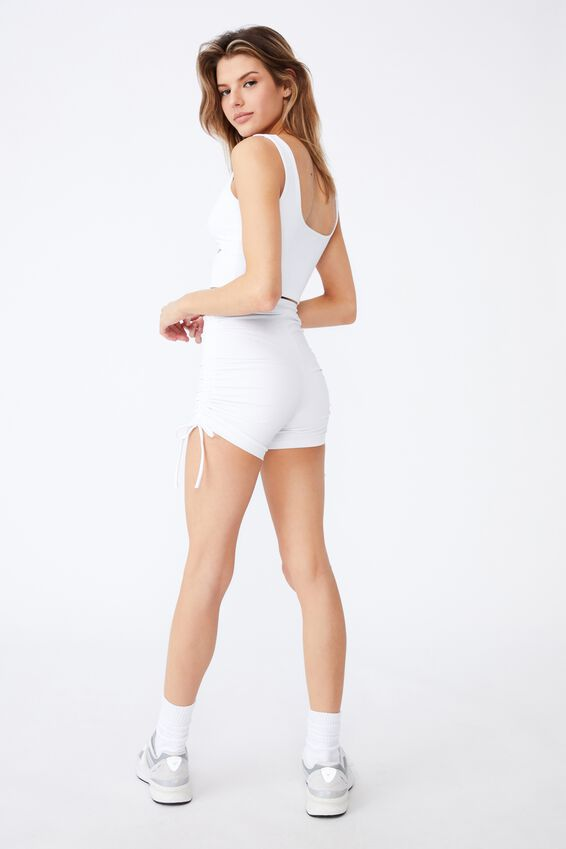 Ruched Side Cheeky Elevated Bike Short, WHITE