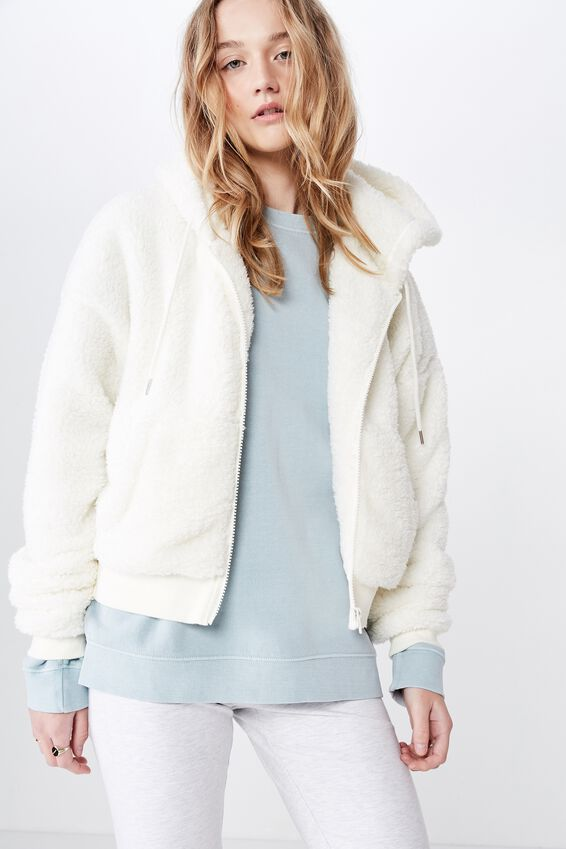 Fila Plush Jacket, OFF WHITE