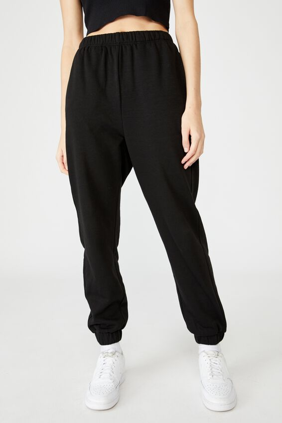 Super High Rise Trackpant, BLACK