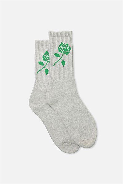 Retro Ribbed Socks, GREY MARLE_GREEN ROSE