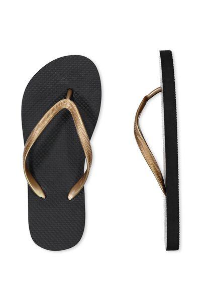 Thin Strap Flip Flop, BRONZE BLACK