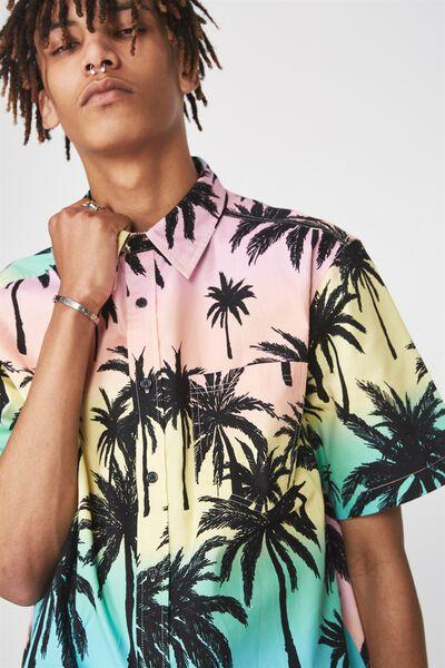 Ss Oversized Shirt, BLACK PALMS