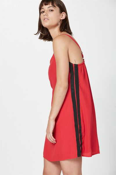 Sport Stripe Slip Dress, RED W/ BLACK STRIPE