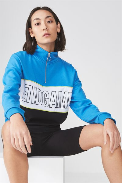 Funnel Neck Zip Jumper, FRENCH BLUE_END GAME