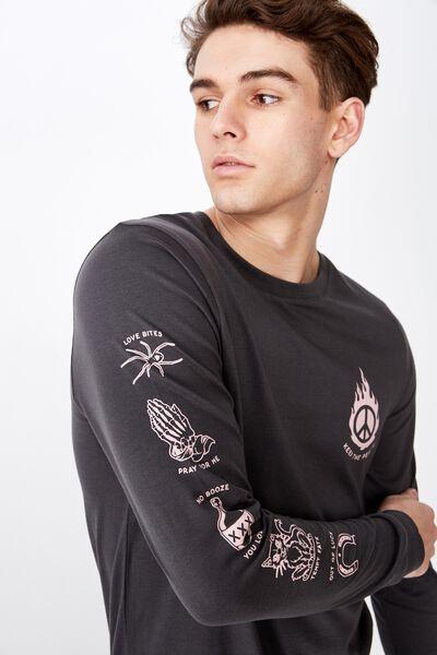 Slim Long Sleeve Graphic T Shirt, ASPHALT/KEEP THE PEACE
