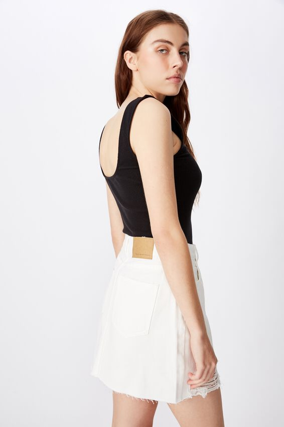Classic Denim Skirt, WHITE DISTRESSED
