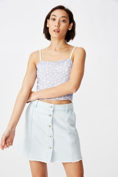 Button Thru Denim Skirt, SUMMER BLUE