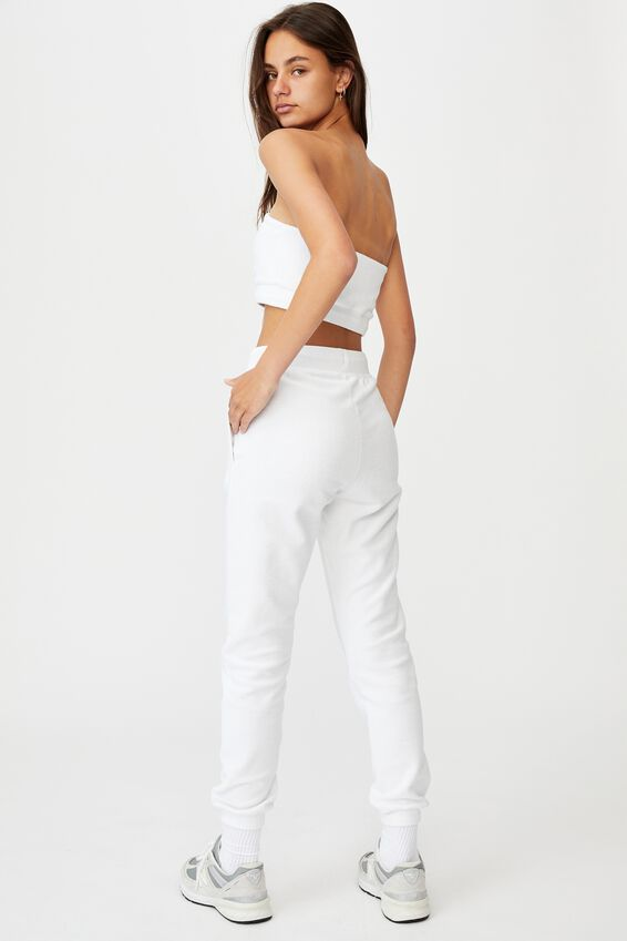 Reverse French Terry Slim Fit Trackpant, WHITE