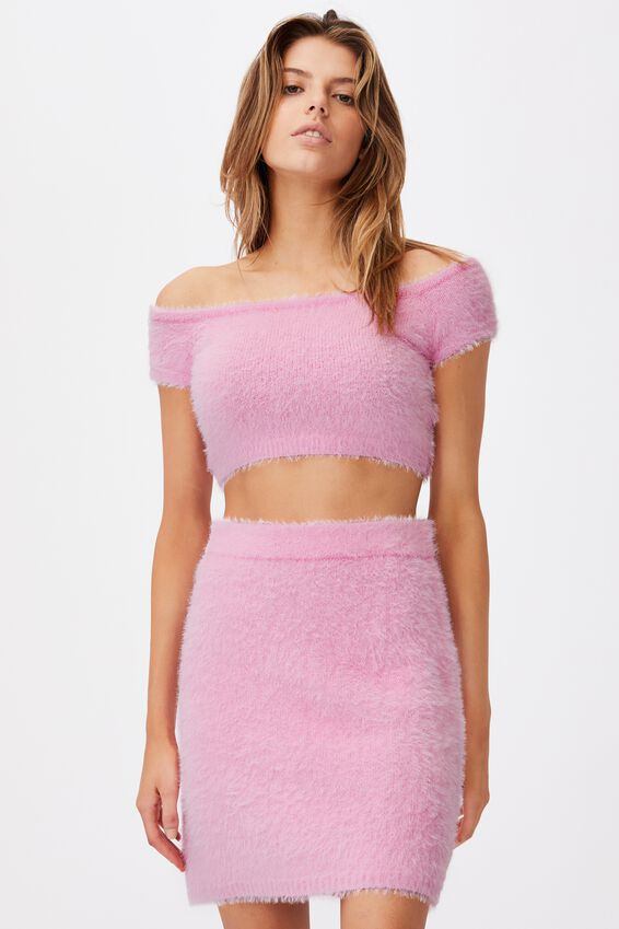 Fluffy Knit Off The Shoulder Top, BABE PINK