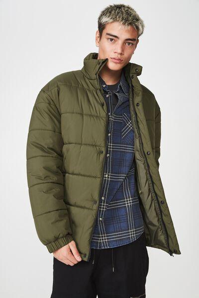 Puffer Jacket, OLIVE NIGHT