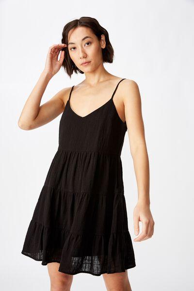 Textured Tiered Dress, BLACK