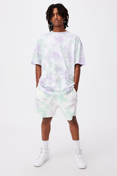Relaxed Tie Dye T Shirt, MINT GRAPE TIE DYE