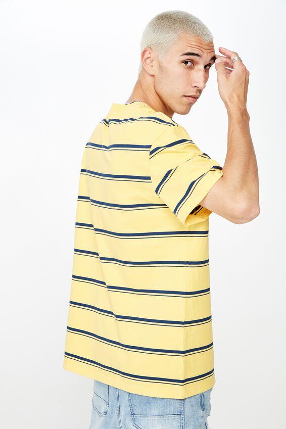Fila Regular Stripe T Shirt, WASHED YELLOW/NAVY STRIPE