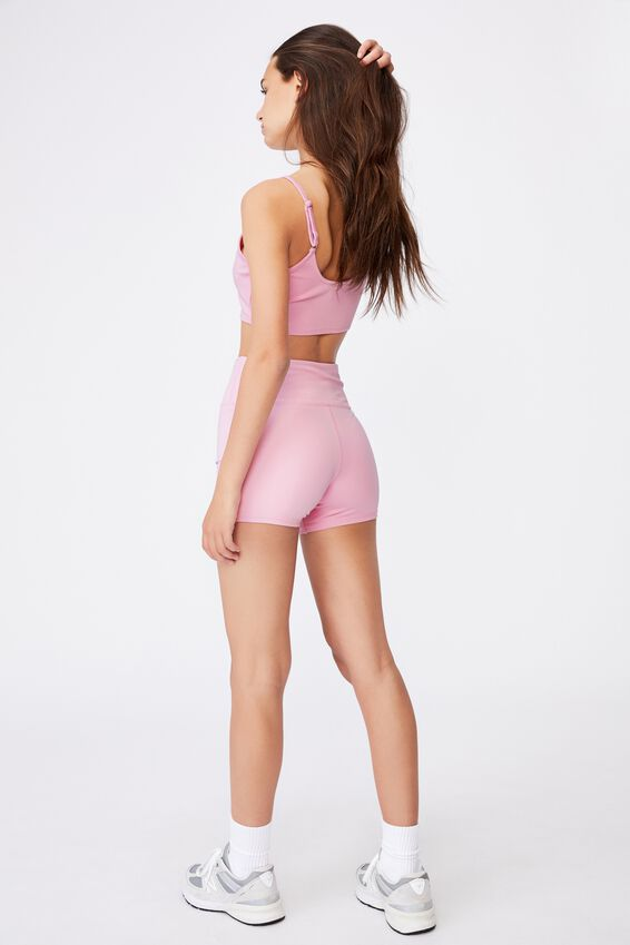 Cheeky Elevated High Waisted Bike Short, BABE PINK/INTL DELAY